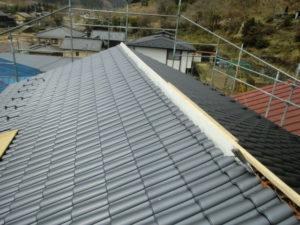 棟部施工中の屋根