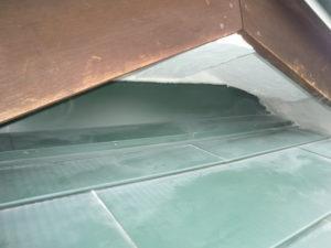 軒天井との取り合い部の漆喰補強