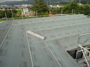 ルーフィング上張り後の屋根