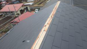 棟を張る為の下地作り中の屋根