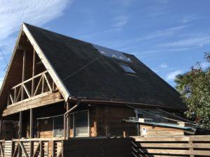 現調時の養生してある屋根