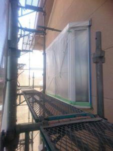 養生した窓ガラス