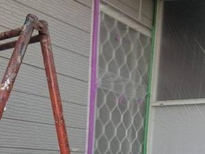 外壁塗装 養生 はめ殺し窓