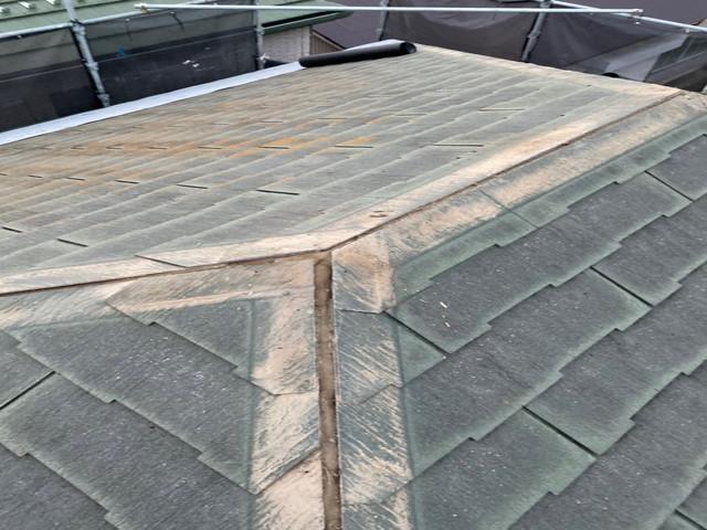 屋根 棟板金撤去