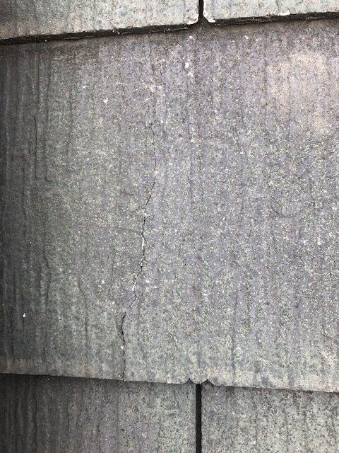 現地調査 屋根 化粧スレート 劣化 ヒビ