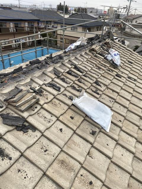 屋根葺き替え工事 瓦降ろし