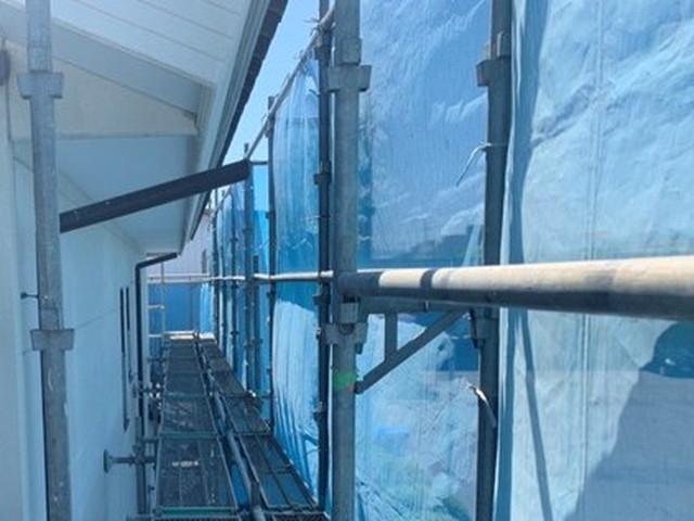 塗装工事 足場 飛散防止シート 高圧洗浄