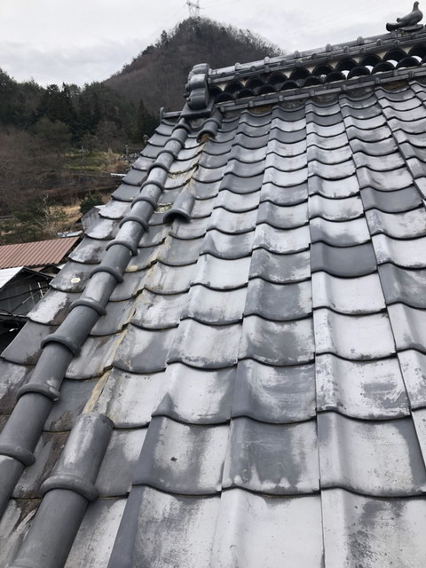 屋根 陶器瓦 和瓦 竹丸 落下