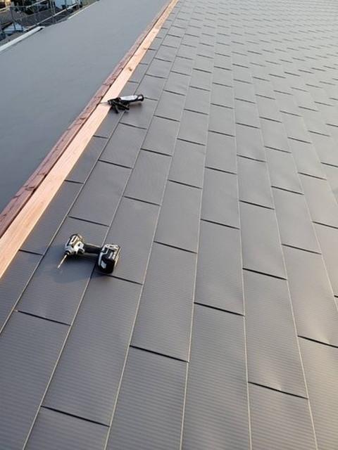 屋根カバー工法工事 貫板施工