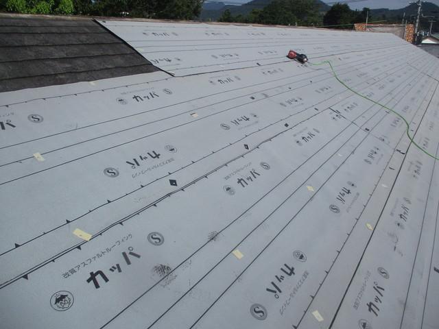 屋根 カバー工法工事 ルーフィング施工