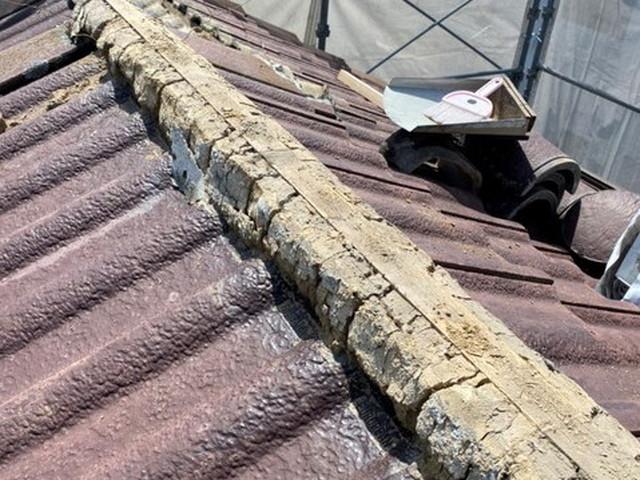屋根 棟 漆喰工事
