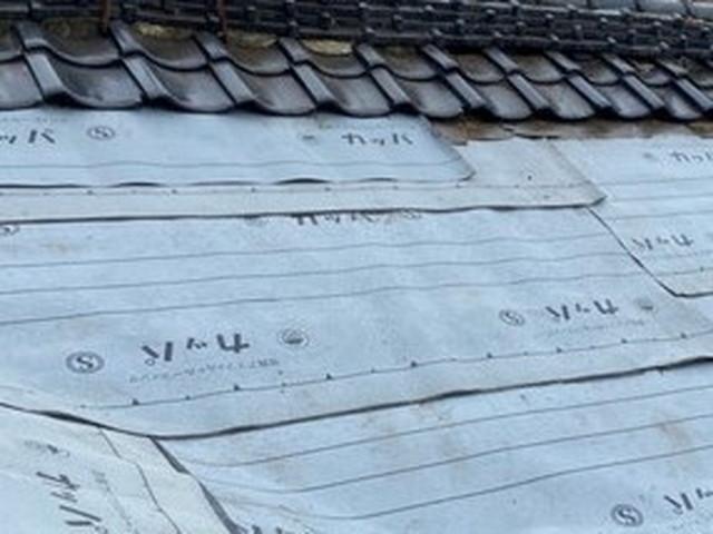 屋根 一部葺き戻し工事 ルーフィング設置 防水シート設置