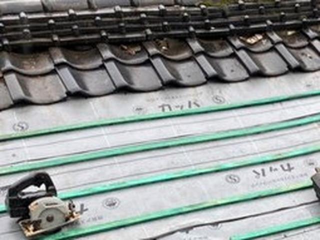 屋根 一部葺き戻し工事 瓦桟木設置